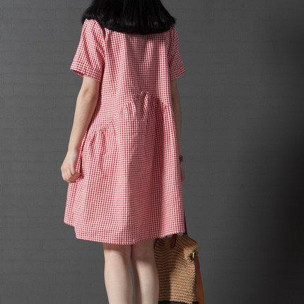 4XL женское платье повседневные свободные хлопковые льняные лен платье длинный кардиган решетки цвета — красный, синий, черный купить на AliExpress