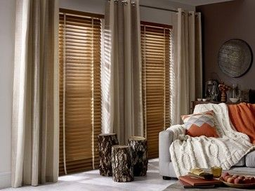 Mellow Oak & Natural Wooden Blind traditional-venetian-blinds
