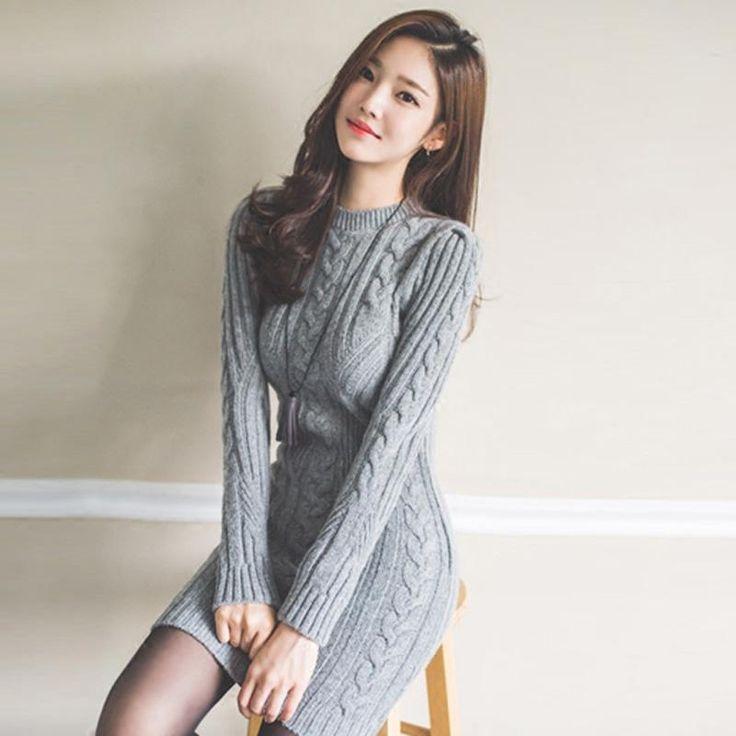 Korean Ladies Temperament O-neck Long-sleeve Knitted Sweater Slim Hip Basic Dresses