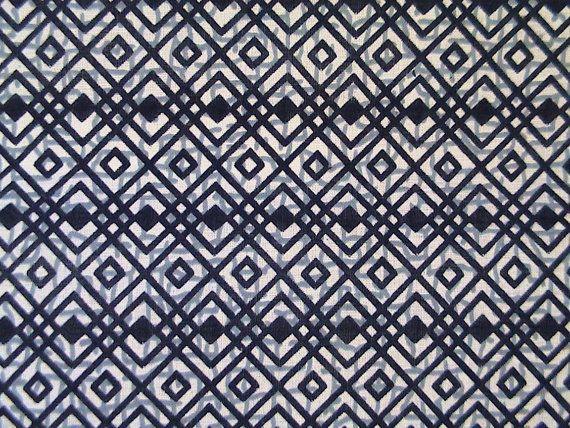 Indigo Geometric Hishi Vintage Japanese cotton by KimonoARTUK, £10.00