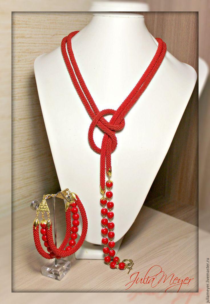 """Купить Комплект лариат + браслет """"Коралловый"""" - ярко-красный, коралловый цвет, комплект украшений"""