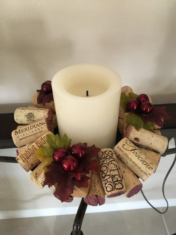 Wine cork candle rings. Grape designPillar by CrazieLadyCraftique