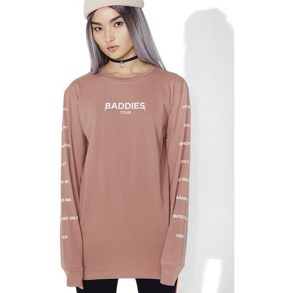 Civil Clothing Baddies Tour Long Sleeve Tee (55 CAD) ❤ liked on Polyvore featuring tops, t-shirts, beige top, long sleeve tees, civil t shirts, round top and long sleeve slouchy top