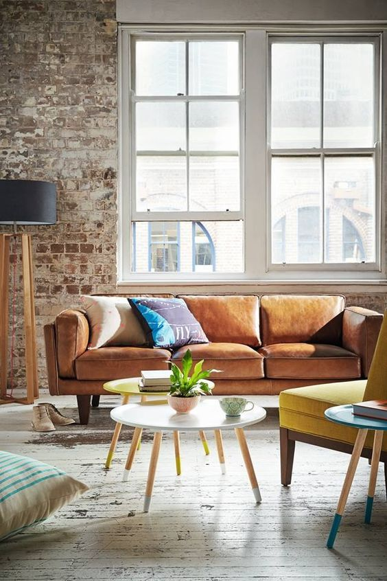 living room tan leather sofa exposed brick - Google Search