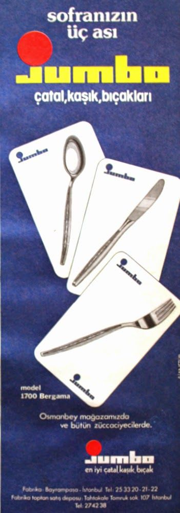 OĞUZ TOPOĞLU : sofranızın üç ası jumbo çatal kaşık bıçak 1975 nos...