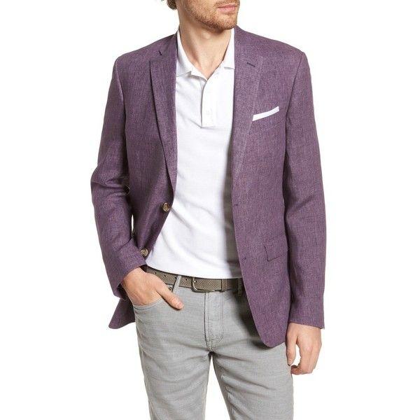 Men's Nordstrom Men's Shop Trim Fit Linen Blazer ($299) ❤ liked on Polyvore featuring men's fashion, men's clothing, men's sportcoats, purple, linen mens clothing, mens purple blazer, mens clothing, purple mens clothing and men's apparel