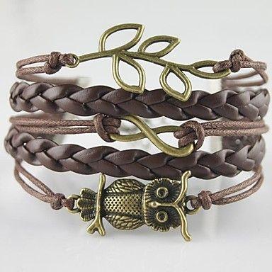 Multilayer Alloy Owl Leaf Infinite Charms Handmade Leather Bracelets – USD $ 2.99