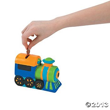 17 best images about train party on pinterest train tracks birthdays and printable birthday - Train piggy banks ...