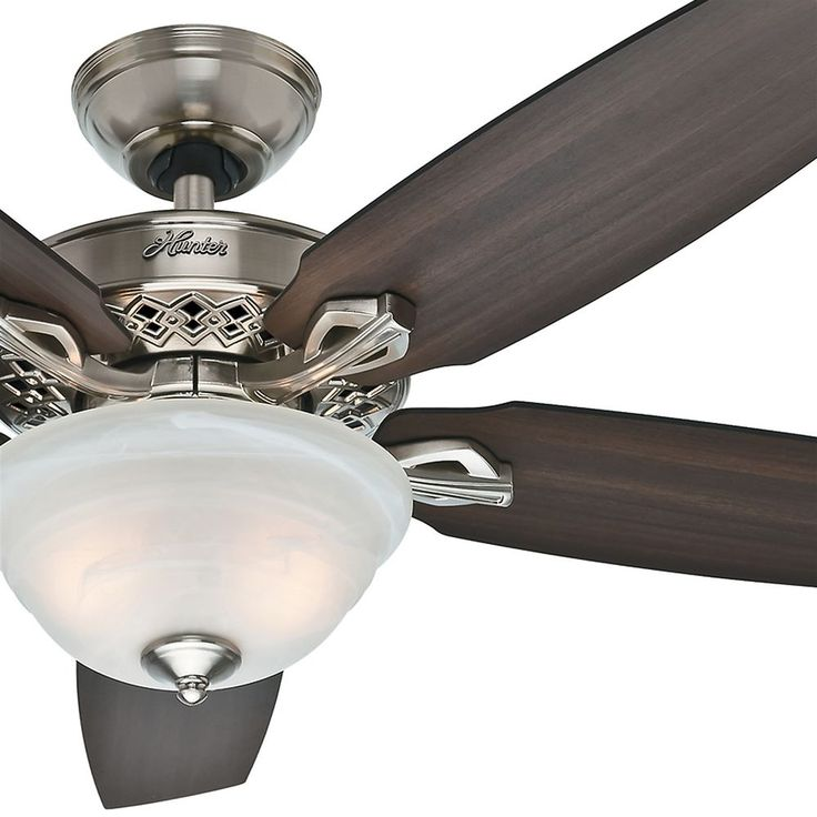 "52"" Hunter Brushed Nickel Traditional Ceiling Fan w Light Kit 3 Position Mount | eBay"