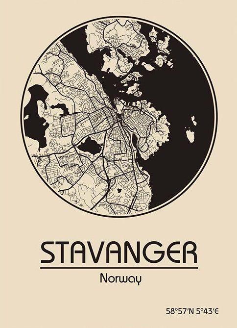 Karte / Map ~ Stavanger, Norwegen / Norway