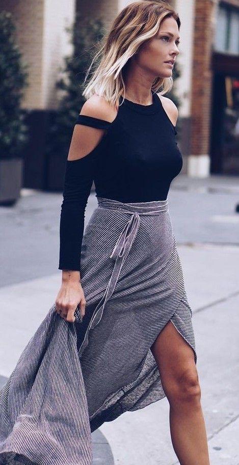 Striped Wrap Maxi Skirt in Grey |Caroline Receveur                                                                             Source