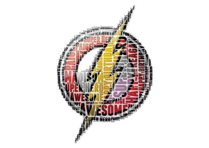 Personalised Birthday Flash Logo Marvel DC Comic Children Boys word art Gift