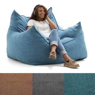 Comfort Research FufSack 4 Foot Large Memory Foam Microfiber Bean Bag Chair Blue Sky Big Joe