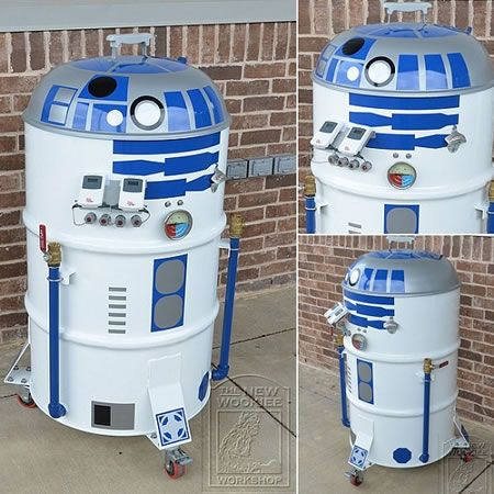 R2-D2 inspired barbeque grill.