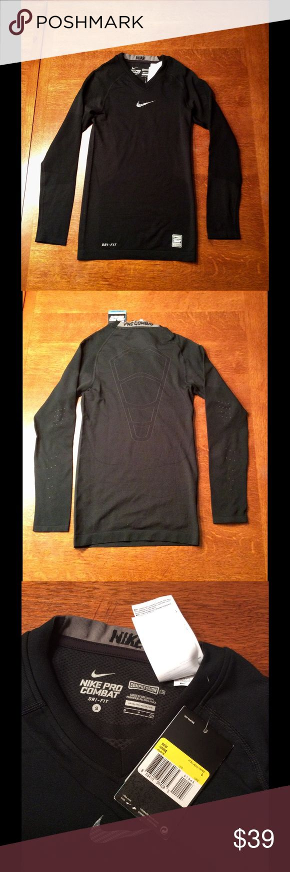 Men's pro combat Nike compression shirt. NWT Brand new, nwt men's Nike pro combat long sleeved compression shirt in size small.  Dri fit fabric technology.  Hypercool series.  Strategic meshing for maximum ventilation.  73% polyester, 21% nylon and 6% elastane.  Flat across chest measures 14 in.  Top of shoulder to bottom measures 25.5 inches. Nike Shirts Tees - Long Sleeve