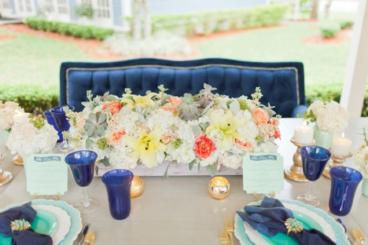 Eclectic Navy, Mint, & Peach Wedding Ideas