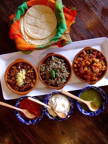 Tortillas,salsas and delicious mexican dishes from 'Los Amates'.