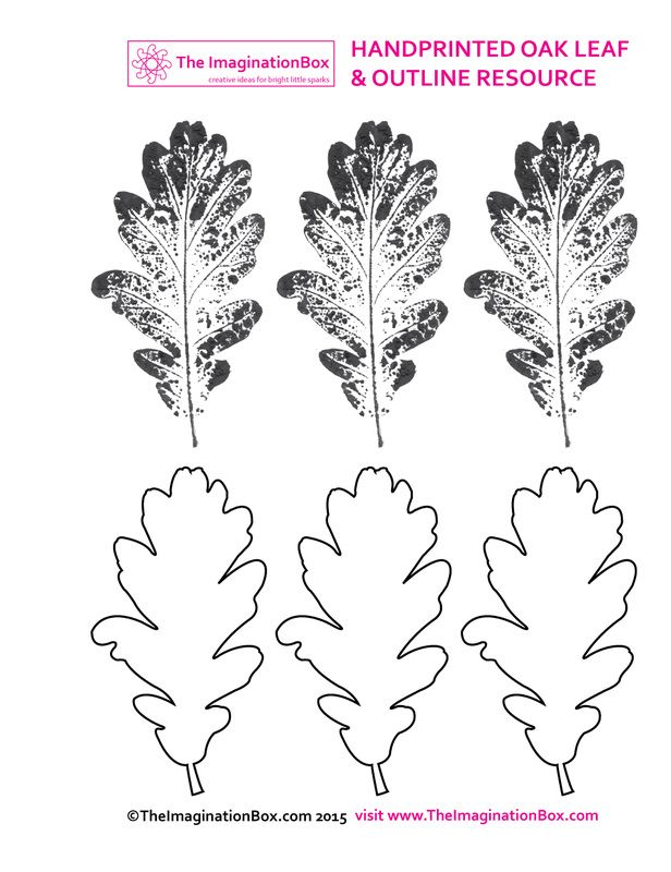 The ImaginationBox - Hand printed oak leaf resource for Fall/ Autumn creative projects at home or school