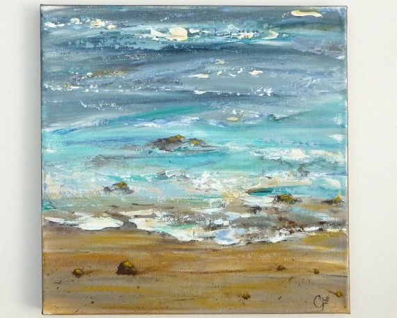 Ocean painting, textured abstract beach modern art, square 12x12 painting. Beach painting on Etsy, $75.00