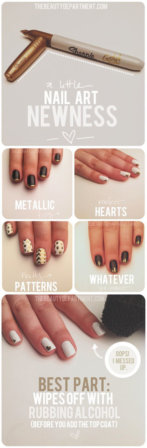 Draw designs with a metallic permanent marker. | 19 Charts That Totally Explain How To Give Yourself A Manicure