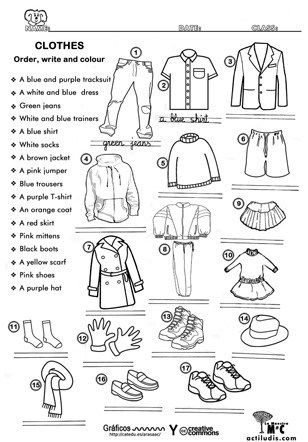 prendas de vestir en ingles y español y pronunciacion pdf