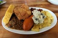 collard greens, cornbread, black eye peas, southern fried tofu, lentils, potato salad, bbq tofu, mac-n-cheese, and yams. SOULEY VEGAN FTW