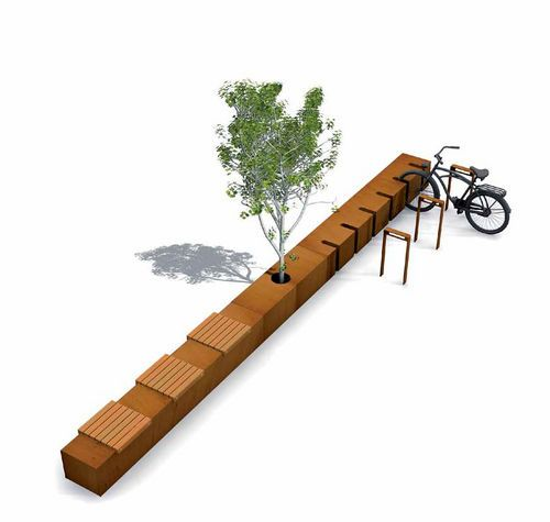 Public bench with integrated cycle stand CORTEN SEAT STRIPS Streetlife