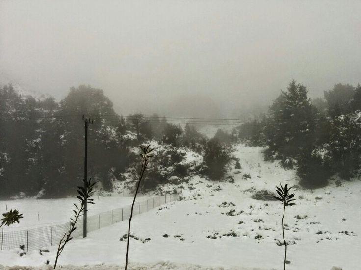 Snowing in Omalos, Chania, Crete, Greece