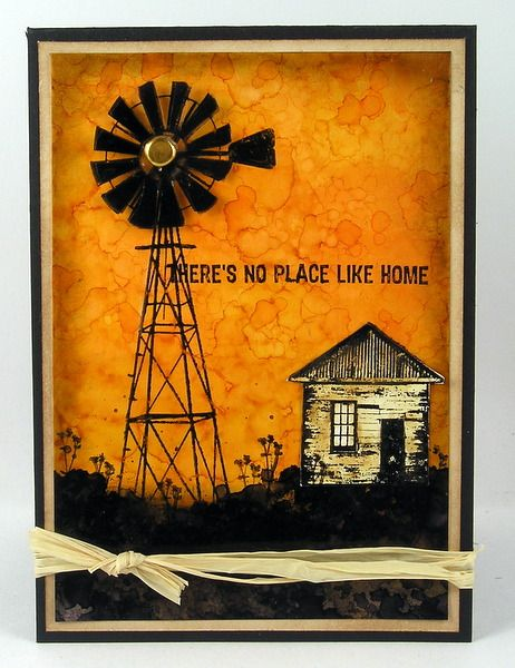 Darkroom Door 'Country Windmill' Photo Stamp DDRS023 & 'Home Sweet Home' Rubber Stamps DDRS041. Card created by Suzanne Czosek. http://www.darkroomdoor.com/rubber-stamp-sets/rubber-stamp-set-home-sweet-home