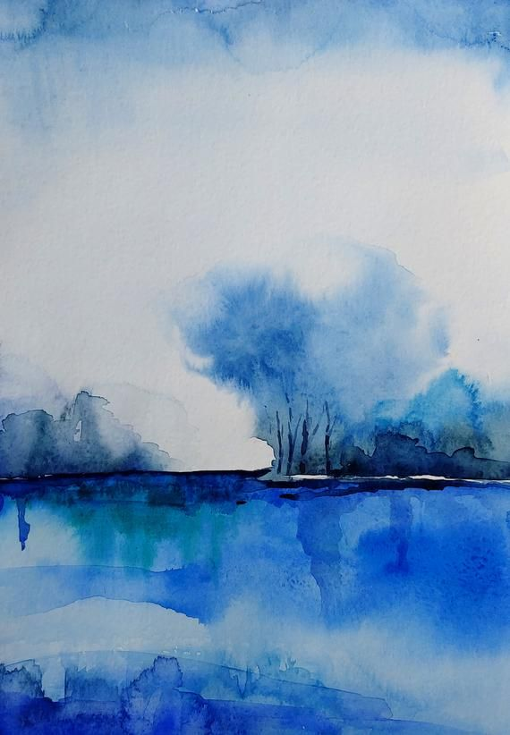 Blue Painting Landscape Abstract Navy Monochromatic Giclee Print