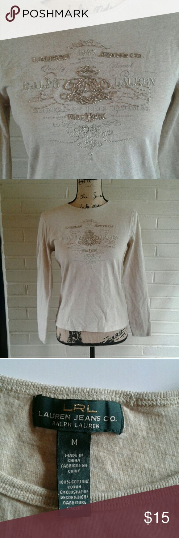 Ralph Lauren long sleeve tee Cream color with embellished with gold beading front long sleeve tee 100% cotton Ralph Lauren Tops Tees - Long Sleeve