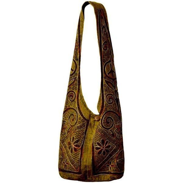 Stone Flowers Boho Shoulder Bag Green on Sale for $19.99 at The Hippie... ($20) ❤ liked on Polyvore featuring bags, handbags, shoulder bags, boho purses, brown shoulder bag, zipper shoulder bag, hippie purses and green shoulder bag