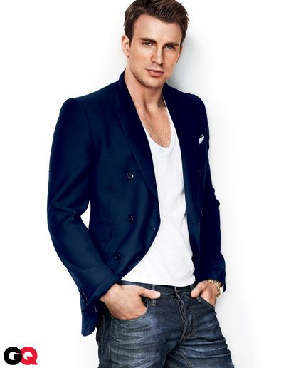 Chris Evans in GQ's Fall Fashion 2011 Preview: Wear It Now: GQ - How to match up blue jacket.