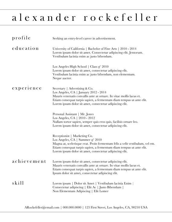 Beautiful Custom Resume Template   The Alexander Rockefeller Resume .