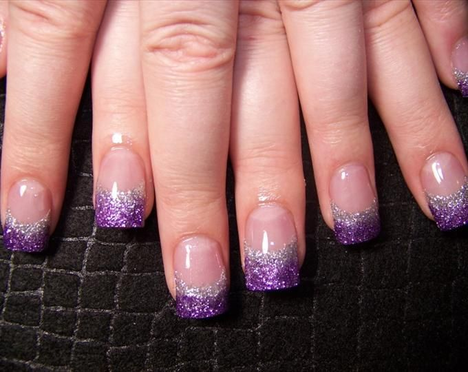 purple and blue nail art   Katies Purple Silver Fade - Nails Style Photo Gallery   nailsstyle.com