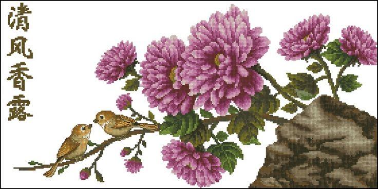 Chrysanthemum схема вышивки крестом