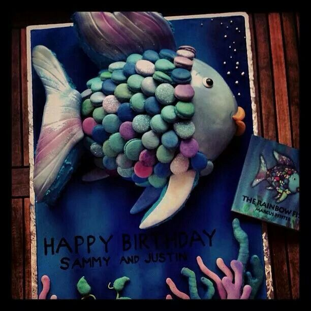 Rainbow Fish Cake with macaron shell scales.