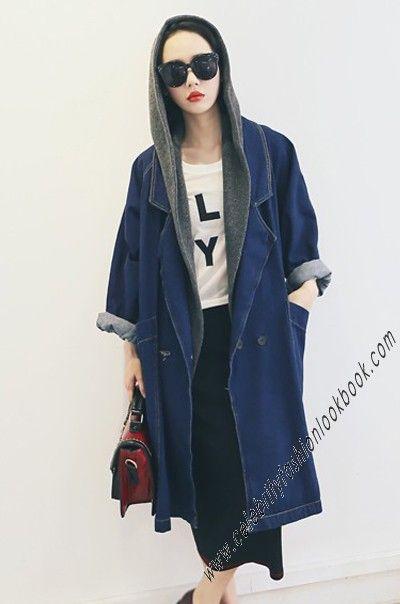 Oversized Denim Long Coat - Denim Jackets - Outerwears - Clothing US$55.48   Free shipping world wide   #fashion #denim #denimjacket