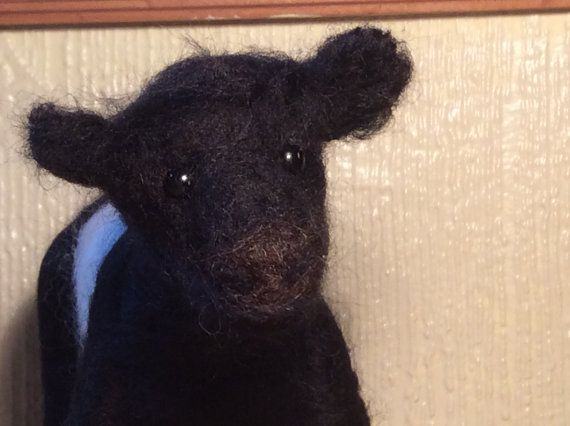 Felted Belted Galloway Cow by RunningWithFelt on Etsy