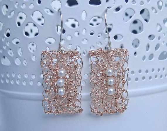 Rose gold crocheted earrings with glass pearl. Handmade by ByDrora, $25.00
