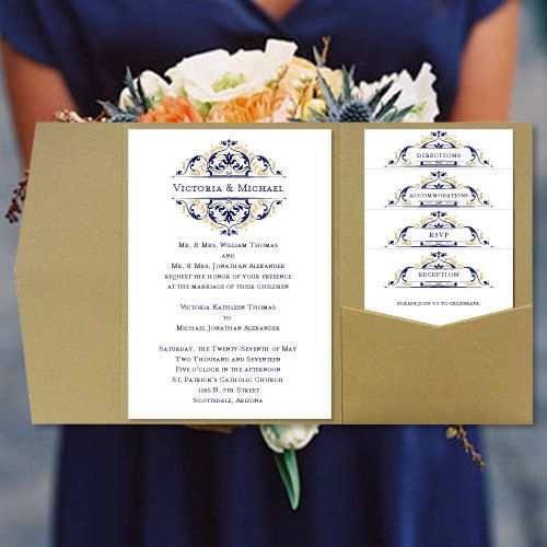 Diy Pocketfold Wedding Invitations Grace Navy Blue Champagne