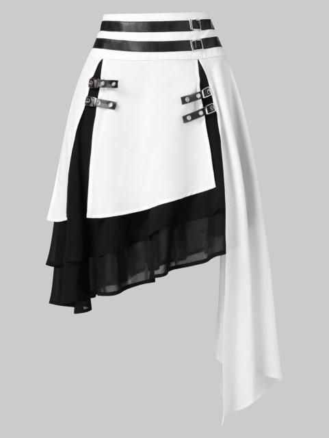 Faux Leather Chiffon Women Skirts High Waist Contrast Asymmetrical Female Skirtliilgal