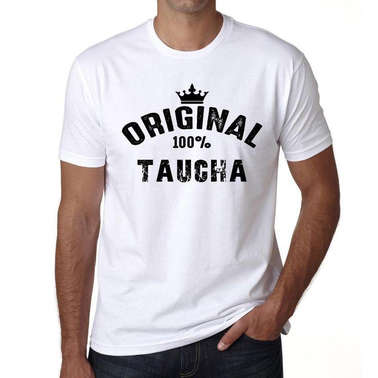 taucha, 100% German city white, Men's Short Sleeve Rounded Neck T-shirt