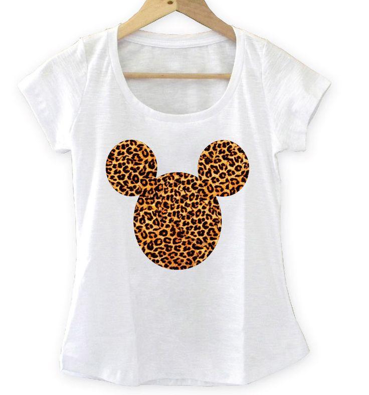 T-shirt Feminina Mickey onça, Tecido Flamê - Cam Shirts