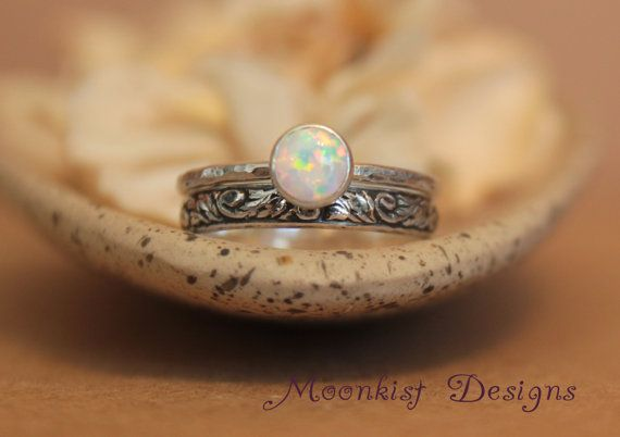 Opal Engagement Ring and Pattern Band Wedding Set in Sterling Silver, Bezel-Set Solitaire with Floral Tendril and Vine Band, Choice of Stone