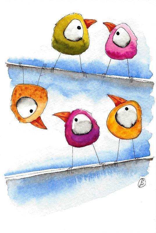 Original watercolor painting Lucia Stewart whimsical birds - morning gossip #IllustrationArt