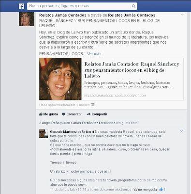 De Raquel Sánchez se dice...Comentario de un lector y amigo http://relatosjamascontados.blogspot.com.es/2013/09/comentario-de-un-lector.html