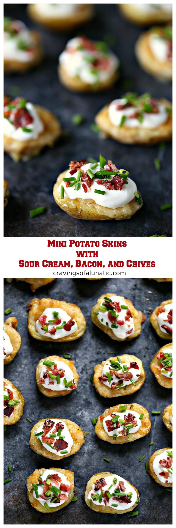 Mini Potato Skins with Sour Cream, Bacon, and Chives from cravingsofalunatic.com- This recipe for Mini Potato Skins with Sour Cream, Bacon, and Chives is simple and delicious. These little bites are perfect for entertaining, especially during game season. #sponsored #BornOnTheFarm