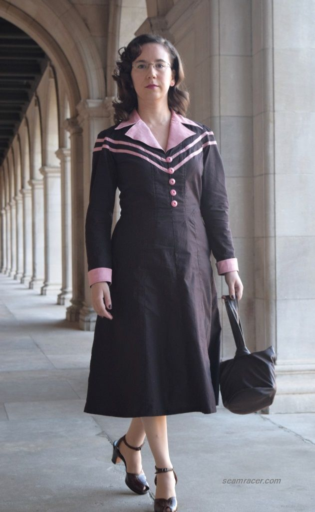 """year 1941 shirt dress, made using Simplicity #8050 and based on a Season 1 """"Agent Carter"""" outfit.  40's box purse from a free """"Sew Vera Venus"""" pattern. by Kelly at seamracer.com"""