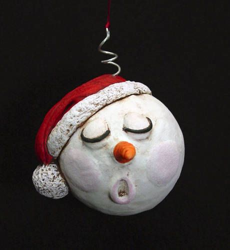 polymer clay snowman ornaments | ... Snowman ornaments (just added one) - POTTERY, CERAMICS, POLYMER CLAY